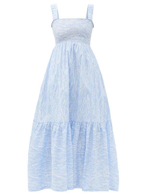 Heidi Klein - Cape Verde Smocked Feather-print Cotton Maxi Dress - Womens - Blue Print