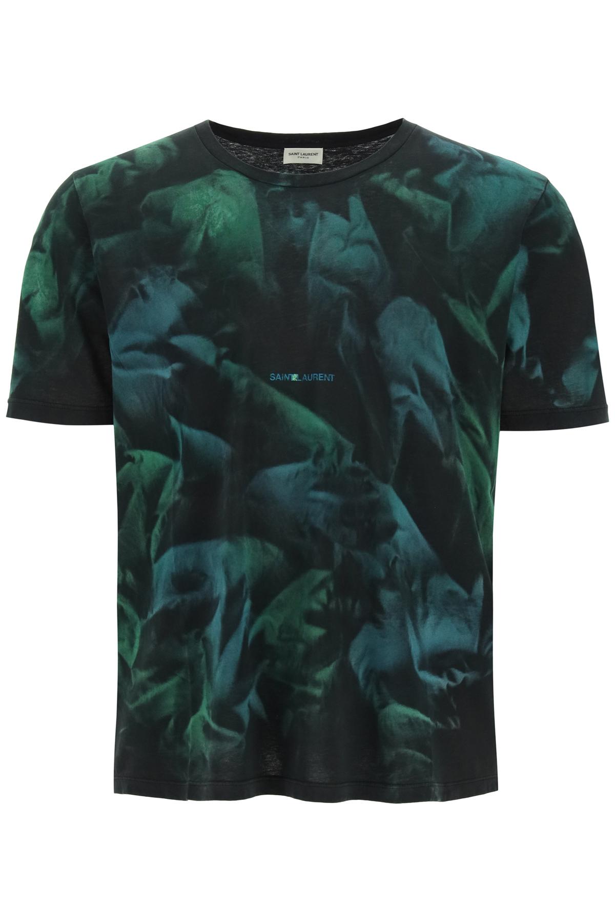 SAINT LAURENT CLASSIC TIE-DYE T-SHIRT L Black, Green, Blue Cotton
