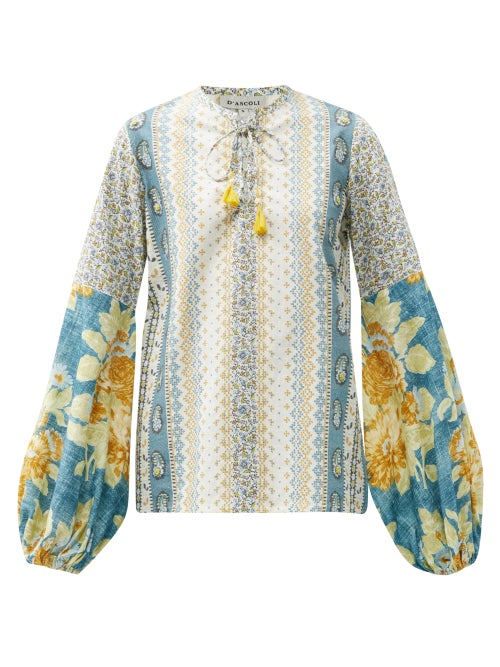 D'Ascoli - Tatiana Floral-print Balloon-sleeve Cotton Blouse - Womens - Blue Multi