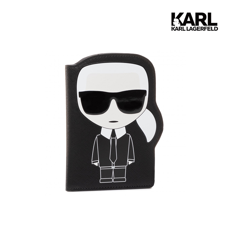 【KARL LAGERFELD】IKONIK護照夾-黑  (原廠公司貨)