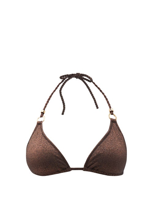 Heidi Klein - Solta Metallic Triangle Bikini Top - Womens - Brown