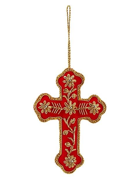 Metallic-Embroidered Cross Ornament