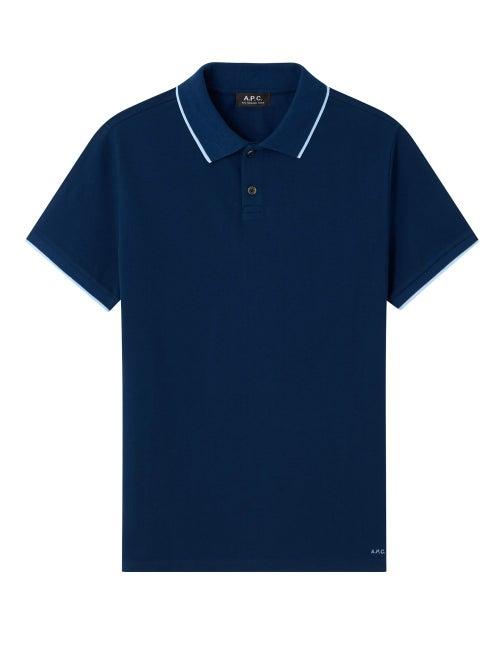 A.P.C. - Max Trimmed Cotton Polo Shirt - Mens - Dark Blue