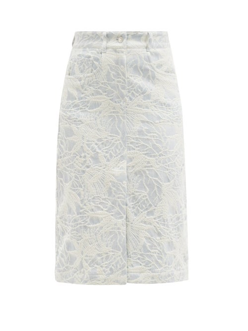 MSGM - Leaf-jacquard Denim Skirt - Womens - Light Blue