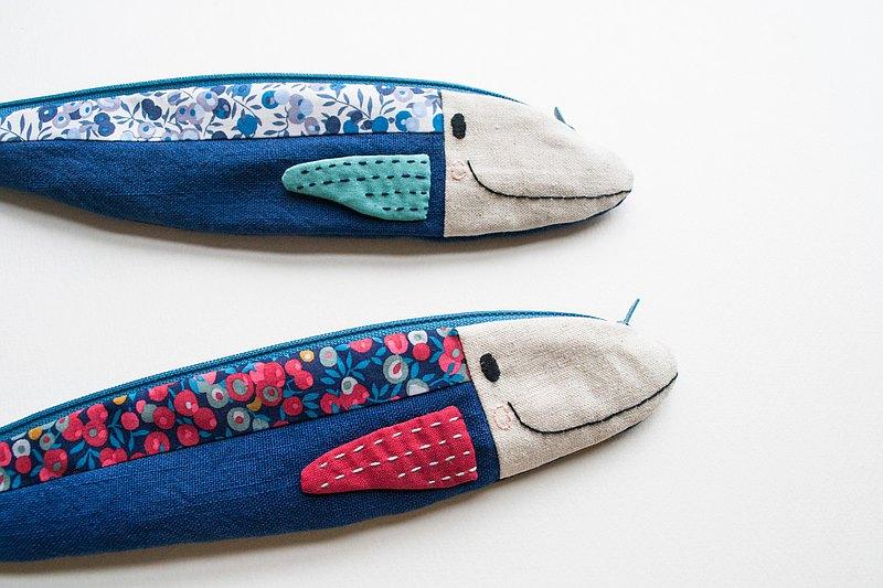 旅行金槍魚餐具袋-靛藍配自由印花