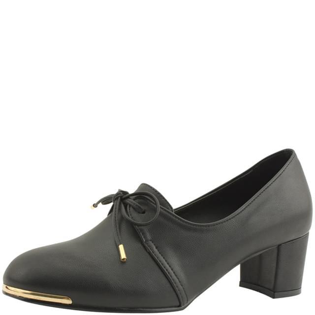 韓國空運 - Ribbon booty full heel middle heel shoes black 跟鞋