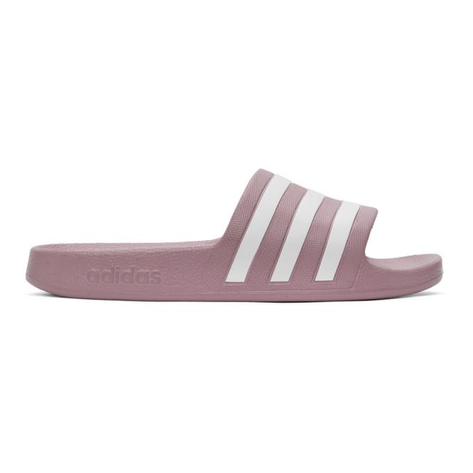 adidas Originals 紫色 Adilette Aqua 拖鞋