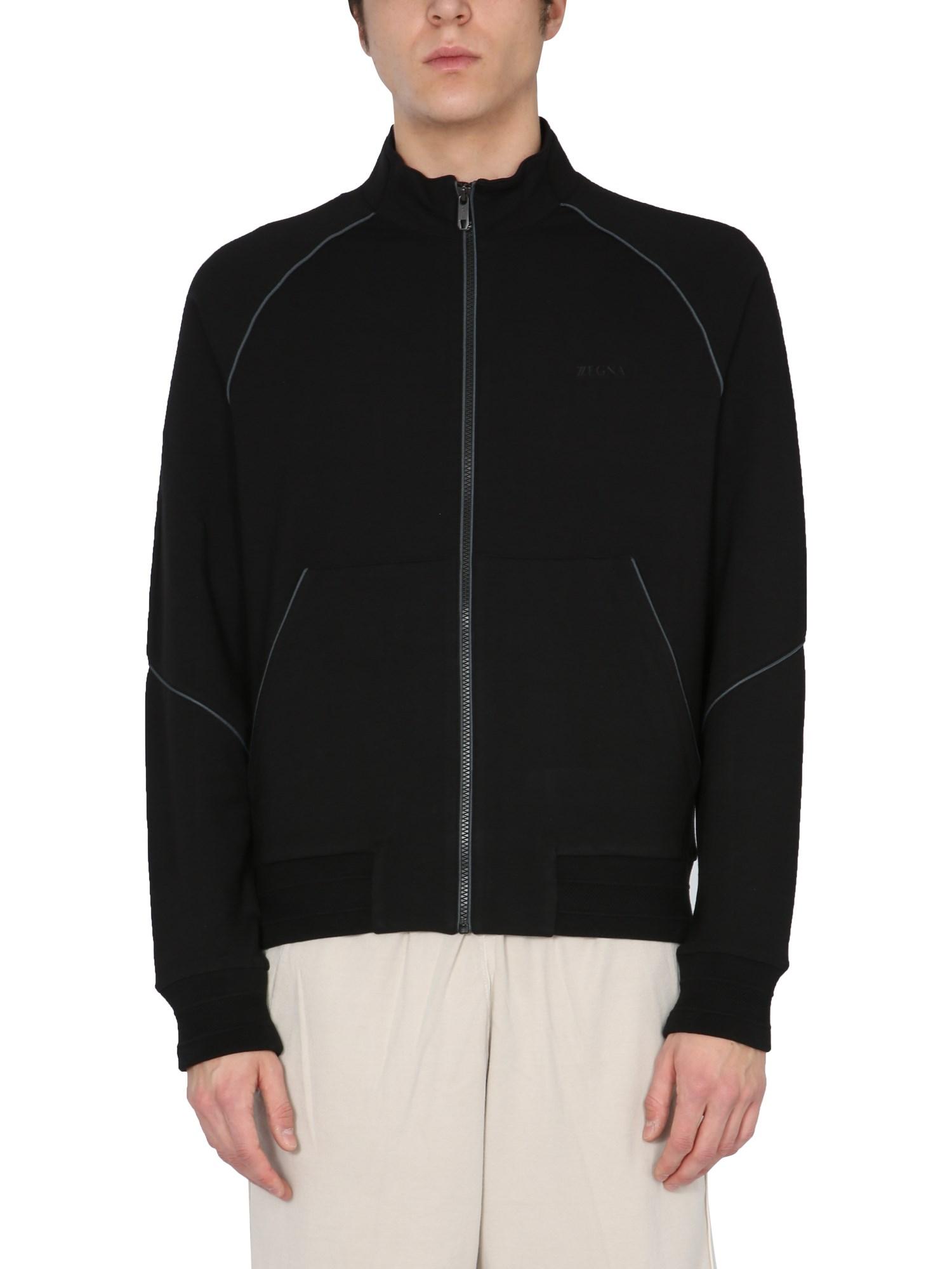 z zegna sweatshirt with zip and logo