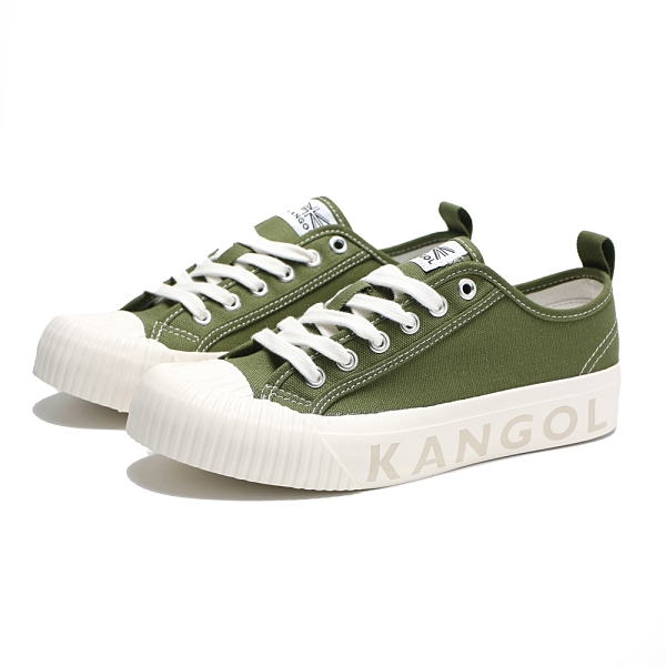 KANGOL 帆布 餅乾鞋 軍綠 壓紋 休閒 女(布魯克林) 6122160170