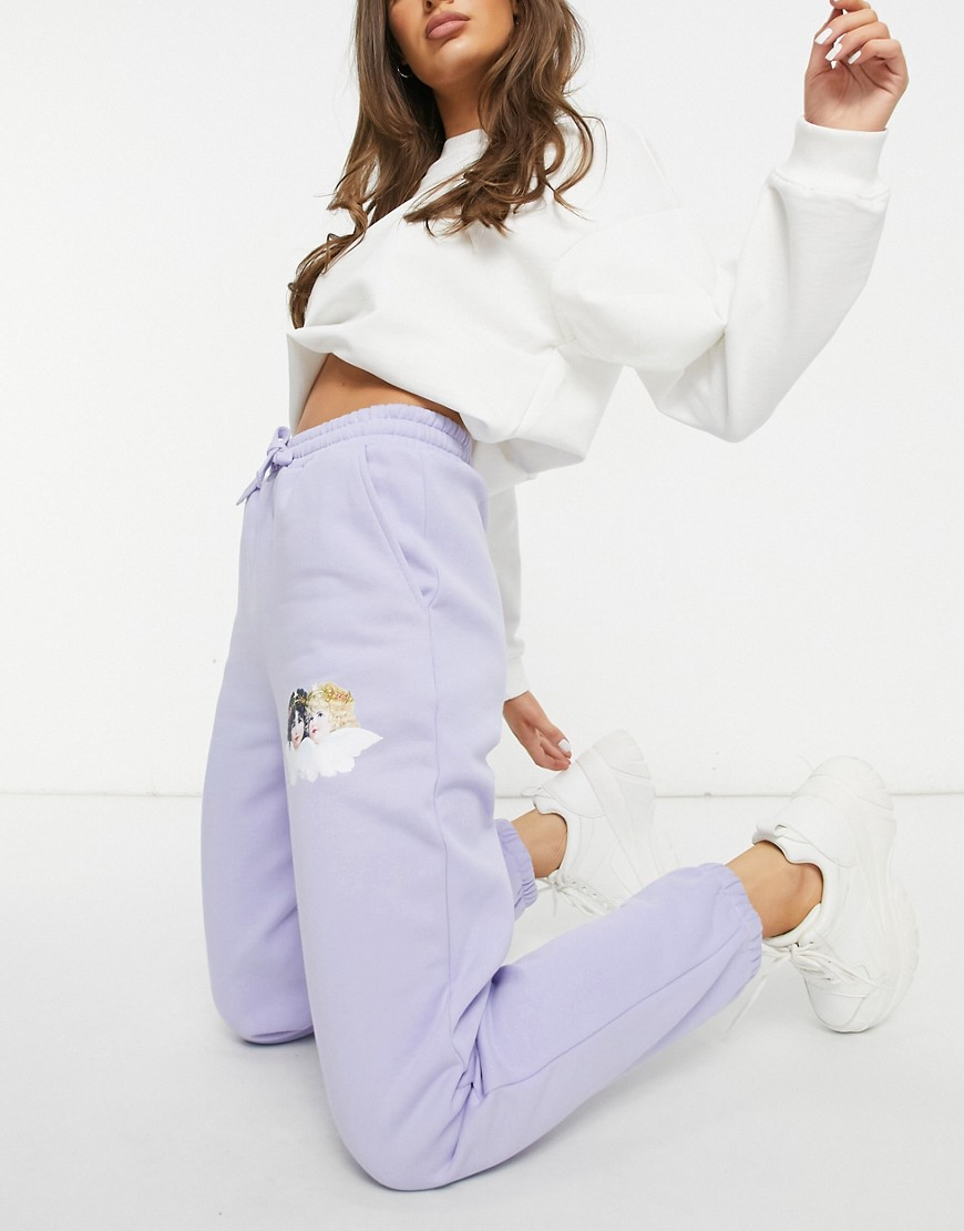 Fiorucci relaxed joggers with small angel graphic in lilac co-ord-Purple
