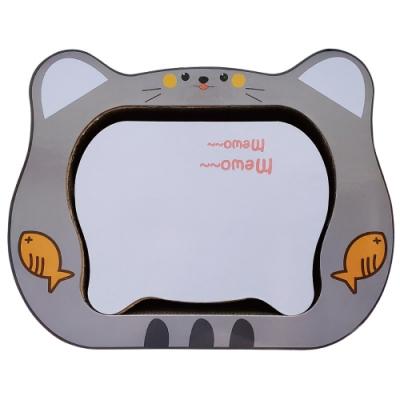 微笑汪喵-可愛貓頭灰色造型貓用紙抓板
