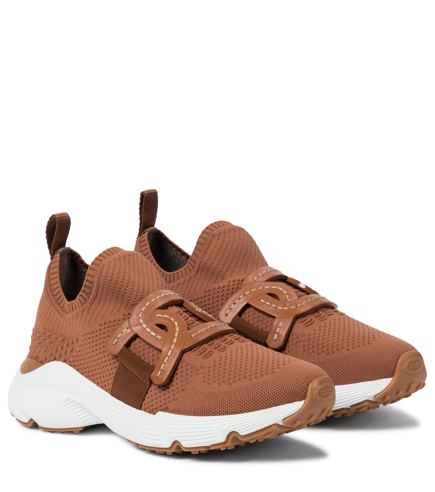 Leather-trimmed knit sneakers