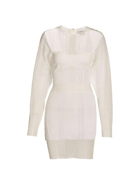 Transparent Ribbed Geometric Mini Dress