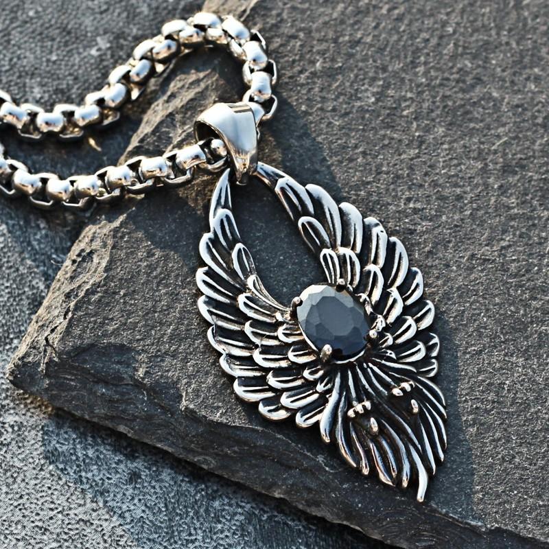 ⭐復古鑲鉆翅膀吊墜掛鏈日韓個性羽毛鈦鋼項鏈潮流男生飾品學生掛飾