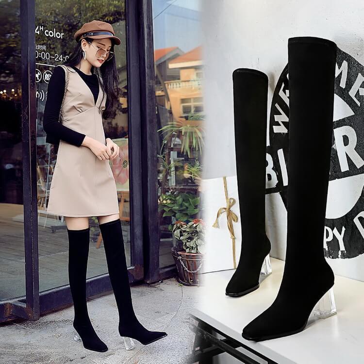 VIVILIAN歐美街頭風性感顯瘦修長美腿百搭7CM透明水晶粗跟彈力絨面過膝長靴
