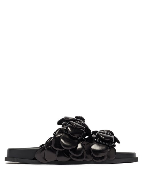 Valentino Garavani - Atelier Petal-effect Leather Sandals - Womens - Black