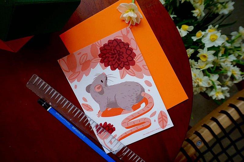 12生肖復古印刷卡片 - 鼠