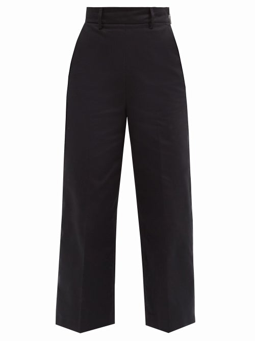 MSGM - High-rise Cropped Cotton-twill Trousers - Womens - Black