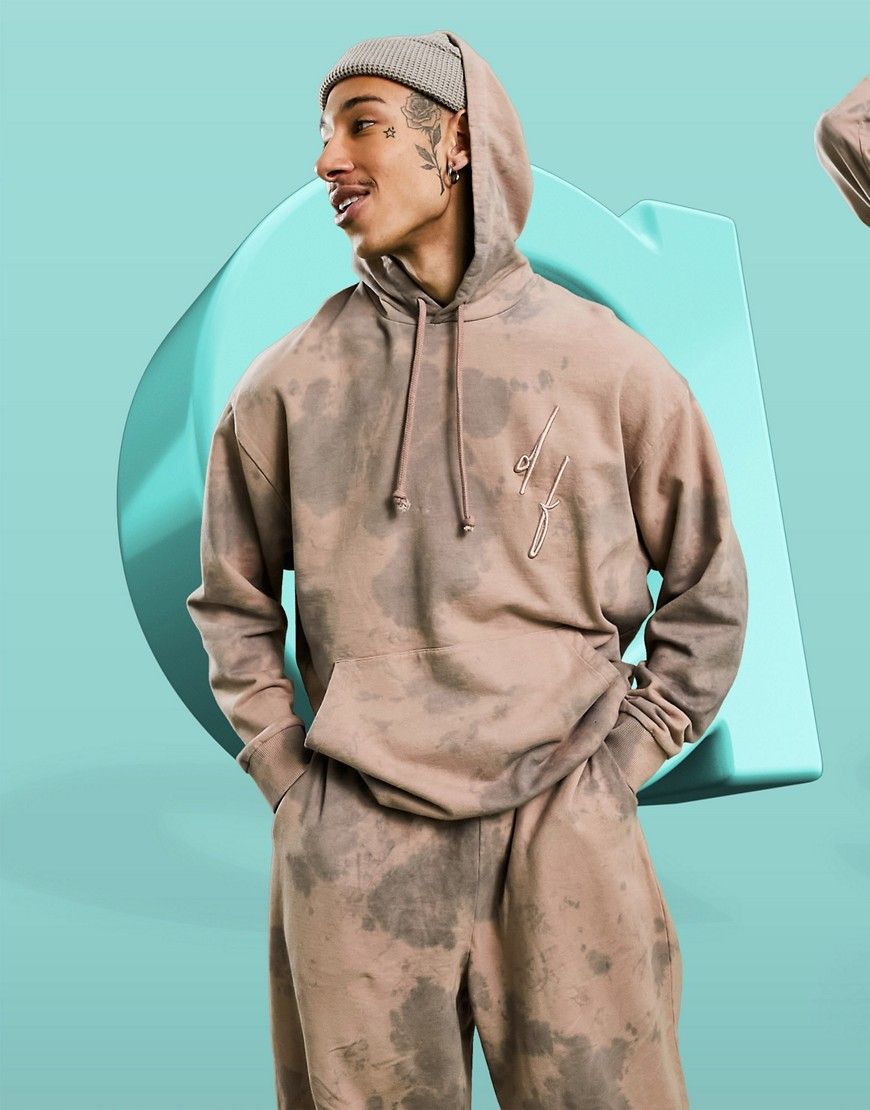 ASOS Dark Future co-ord oversized hoodie with chest logo in pink wash