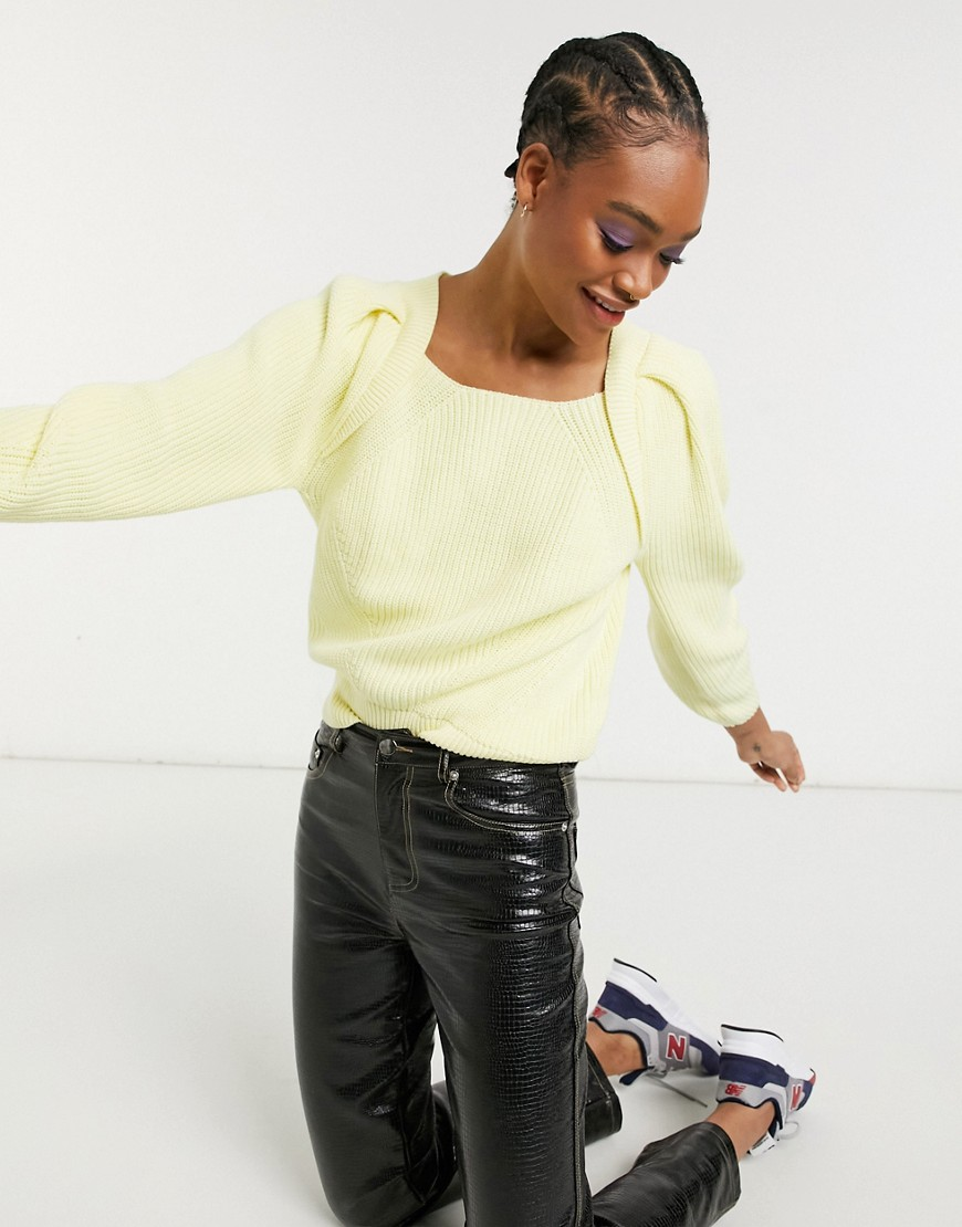 Selected Femme square neck jumper in yellow