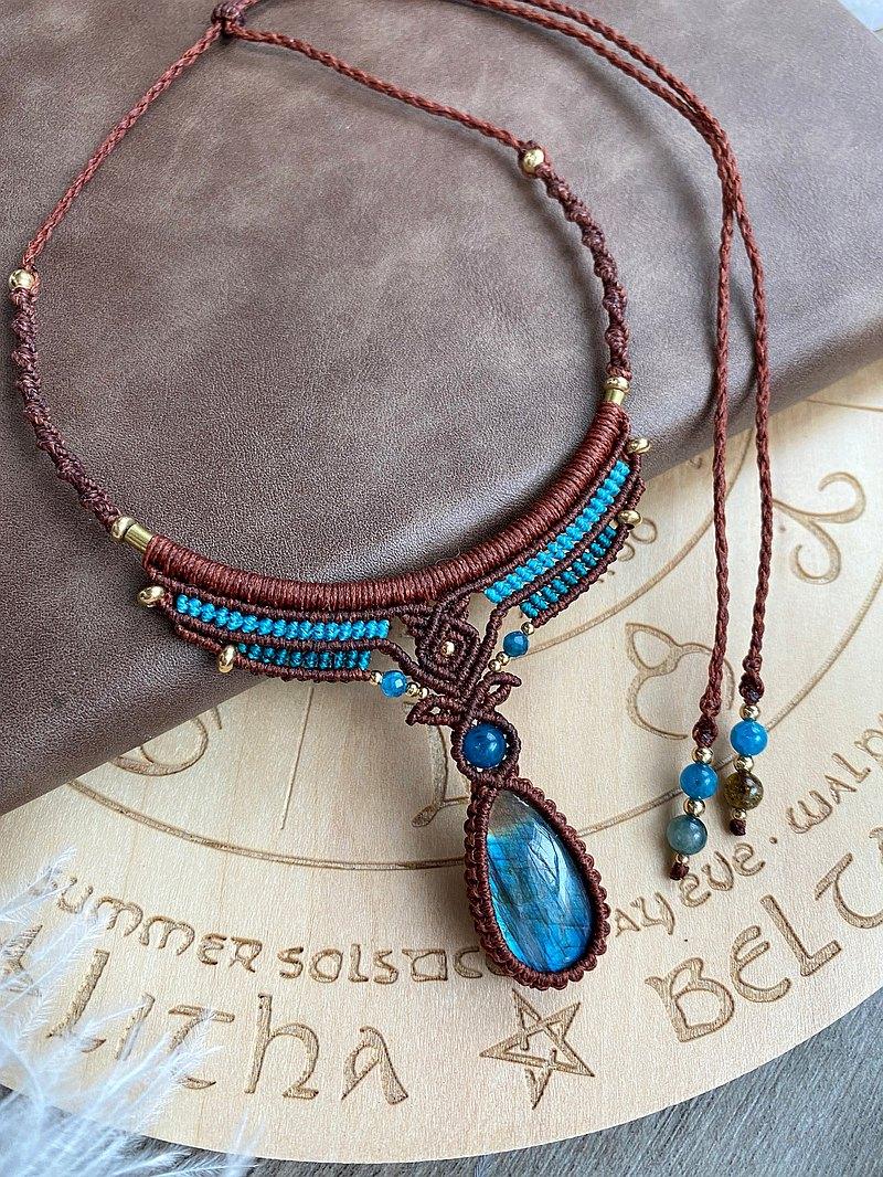 N339 蠟線編織 拉長石 磷灰石珠  碧璽珠 銅珠 項鍊