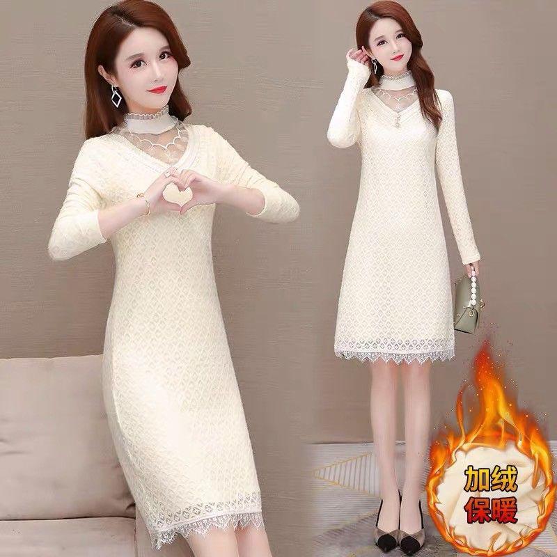 高端氣質加絨加厚連衣裙女冬季新款修身顯瘦百搭蕾絲配大衣打底裙