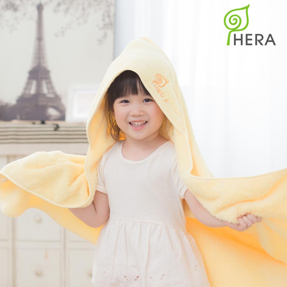 HERA-3M專利瞬吸快乾抗菌超柔纖-嬰幼童連帽巾(奶油黃)