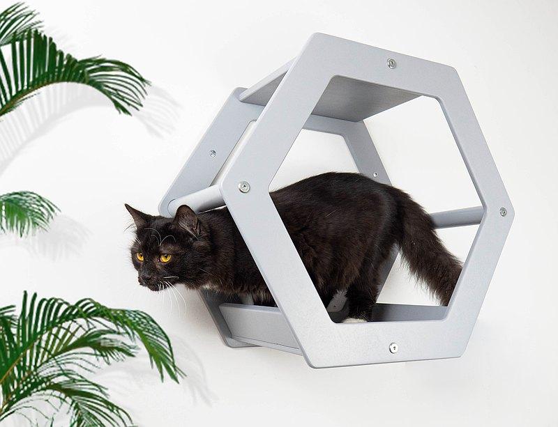 貓蜂窩六角架子貓屋現代木貓床