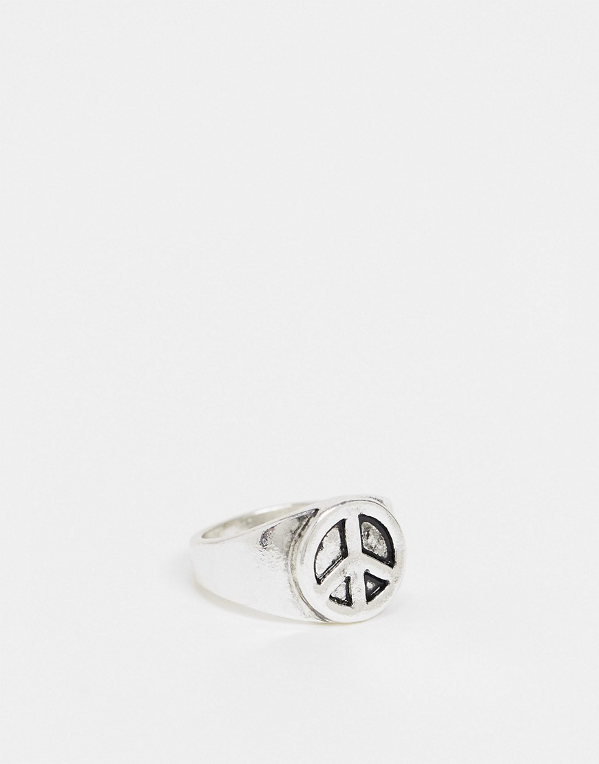 Status Syndicate peace sign ring-Silver