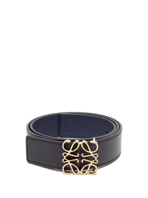 Loewe - Anagram-buckle Reversible Leather Belt - Womens - Black