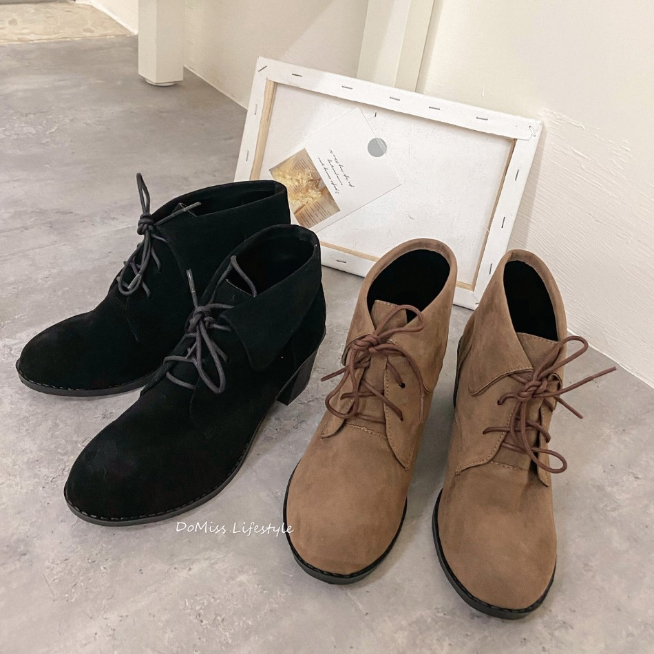 DoMiss甜美麂皮絨中跟短靴-2色(現貨)