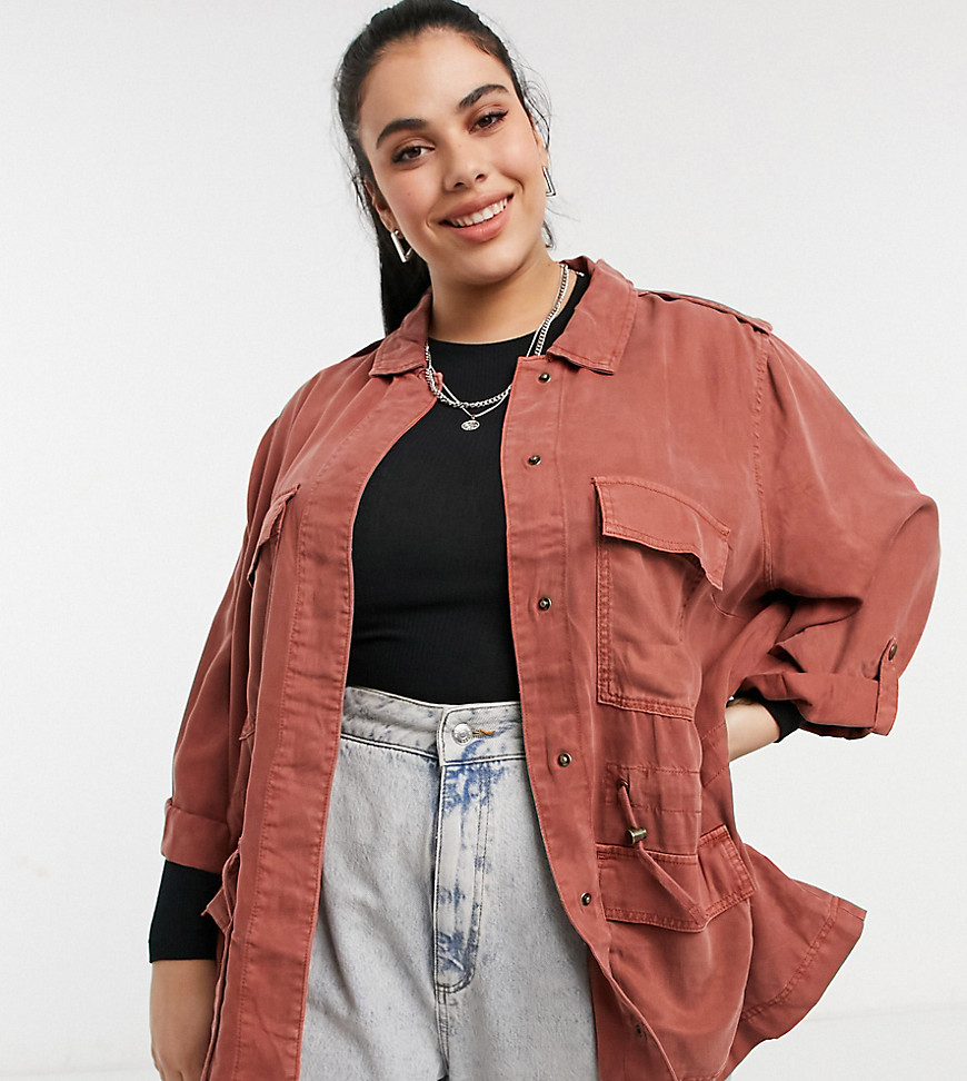 Only Curve utility jacket in pink