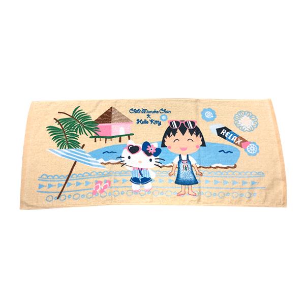 凱蒂貓x小丸子海灘風情毛巾 【康是美】