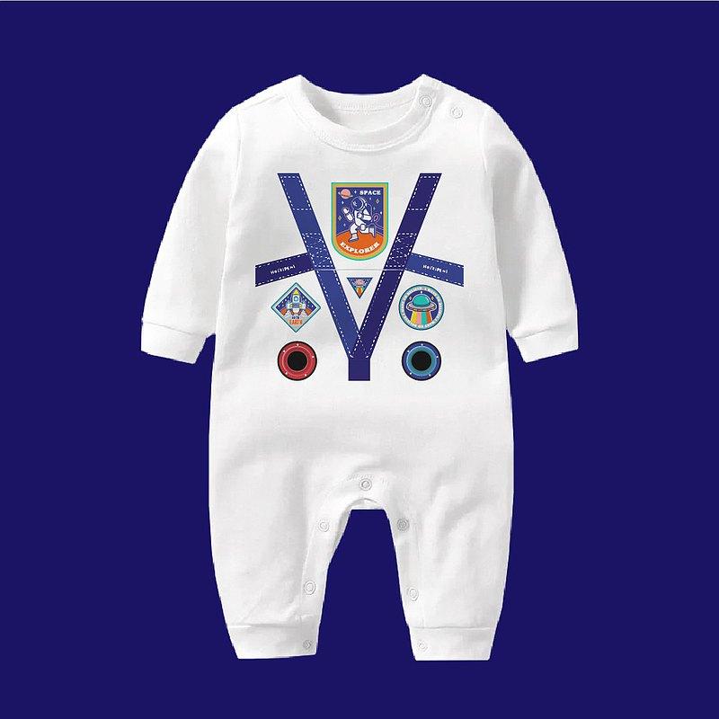 太空人 長袖連身衣 白 嬰兒 彌月 滿月