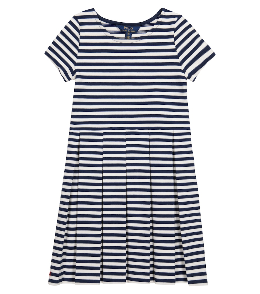 Striped cotton-blend knit dress