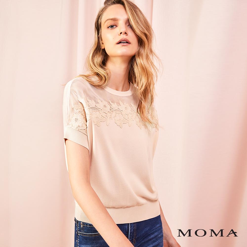 MOMA(01KM38)蕾絲裝飾針織上衣
