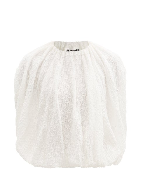 Jil Sander - Gathered Daisy-cloqué Jersey Top - Womens - Ivory