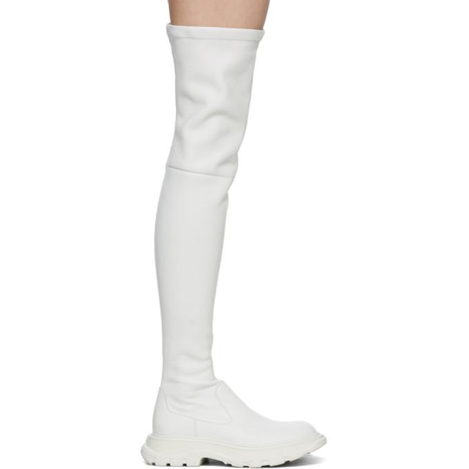 Alexander McQueen 灰白色 Tread 高筒靴