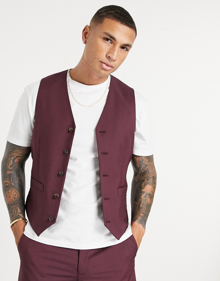 ASOS DESIGN slim suit in burg waistcoat-Grey