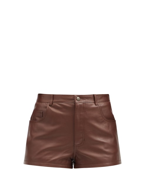Saint Laurent - High-rise Leather Shorts - Womens - Brown
