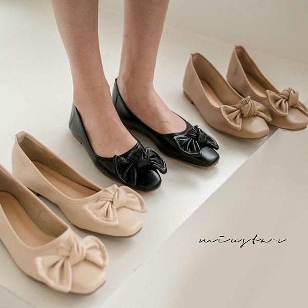 MIUSTAR 小方頭立體蝴蝶結軟皮革包鞋(共3色,35-39)【NJ0251】預購預購