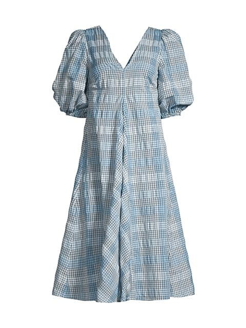 Check Seersucker Puff-Sleeve Dress