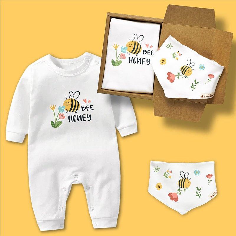 BEE哈尼小蜜蜂 長袖連身衣 三角巾 口水巾 禮盒 嬰兒 彌月 滿月
