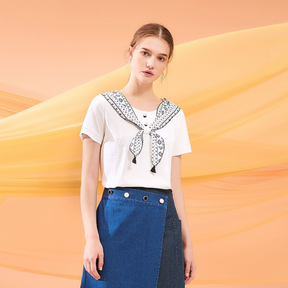 OUWEY歐薇 簡約可拆式絲巾純棉上衣(白)J06146