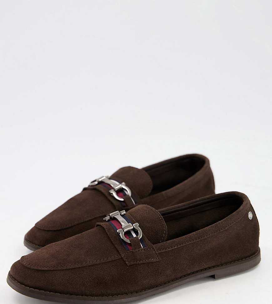 Ben Sherman wide fit suede snaffle bar loafers in brown