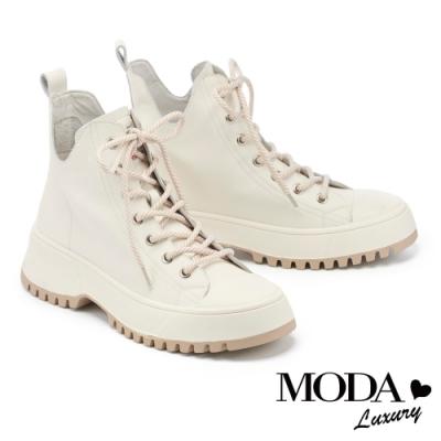 休閒鞋 MODA Luxury 率性潮品綁帶全真皮厚底高幫休閒鞋-白