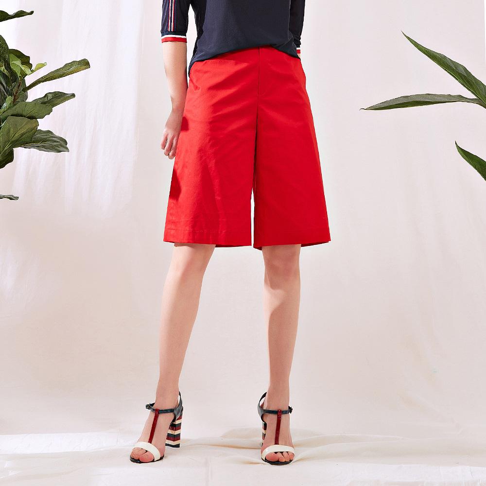 OUWEY歐薇 撞色條紋休閒五分寬褲(白/紅)J02812