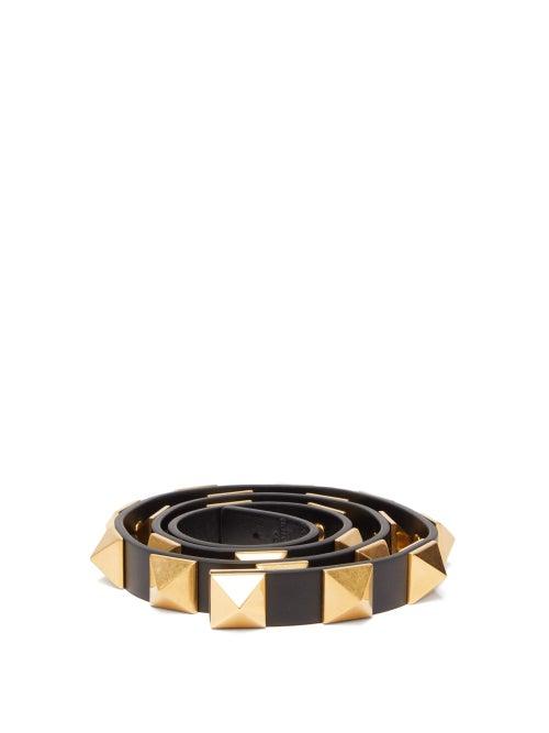 Valentino Garavani - Roman Stud Leather Belt - Womens - Black