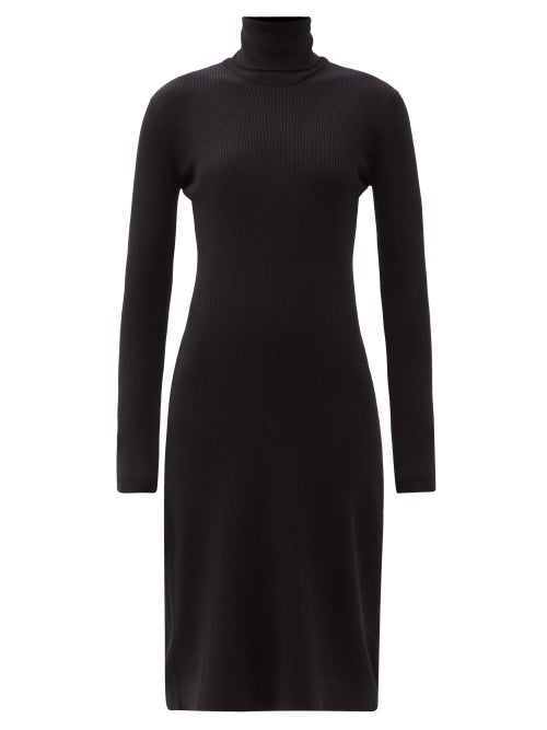 Another Tomorrow - Roll-neck Ribbed Wool-blend Midi Dress - Womens - Black