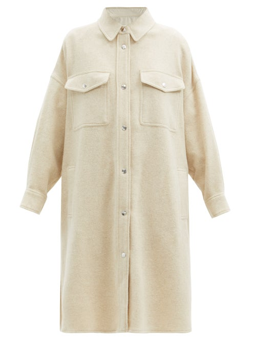 Isabel Marant Étoile - Fontia Oversized Wool-blend Shirt Coat - Womens - Ivory